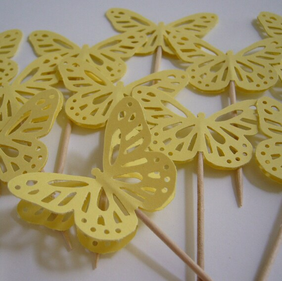 Butterfly Cupcake Toppers - Yellow