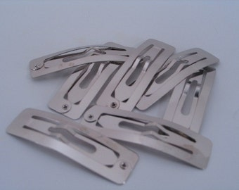 24 pieces - 50mm Rectangular Snap Clips - Hair accessories clippies bows bulk wholesale