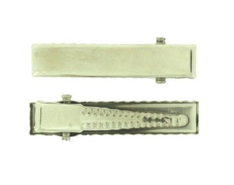144 pieces - 30mm Rectangle Alligator Pinch Clips with Teeth - wholesale, bows, ribbons, bulk