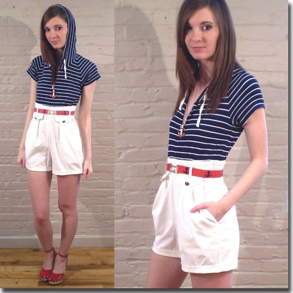 Vintage 80s NAUTICAL striped HOODED romper (S)