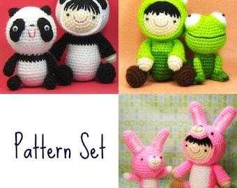 Pattern Set - Dolls in Costume with Friends - PDF Amigurumi Crochet