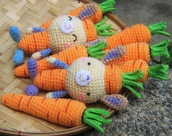 Carrots AND Carrot Bunny - Crochet Pattern - Instant PDF Download