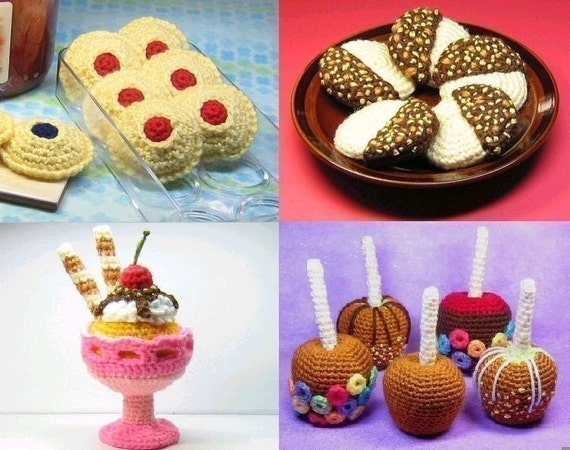 4 Food Patterns - Crochet - Instant PDF Download