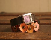 Poppy Wrap Watch - Leather in Pink, Coral, Orange, Yellow, Brown and Purple