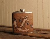 Dock Flask -Leather in White, Blue, Yellow and Antique Black