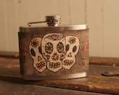 4oz Flask - Leather and Stainless Steel - Sugar skull pattern