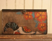 Leather Checkbook Wallet - Antique Black, turquoise, orange, red - Black Eyed Nellie with skull and flowers
