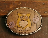 Owl Belt Buckle - Leather inlay in Purple, yellow, white and antique black