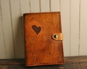 Nice Kindle Touch Case - Leather Antique Tan - Wood Grain and Heart