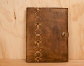 Large Leather Sketchbook - Antique brown, gold and tan - Hive pattern with bees and honeycomb