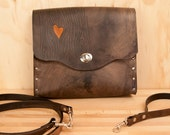 Nice Wristlet Purse - Leather in antique black and orange - Wood grain and heart
