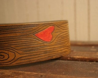 Leather Guitar Strap in the Nice Pattern // Valentines Day Gift //  Woodgrain and heart