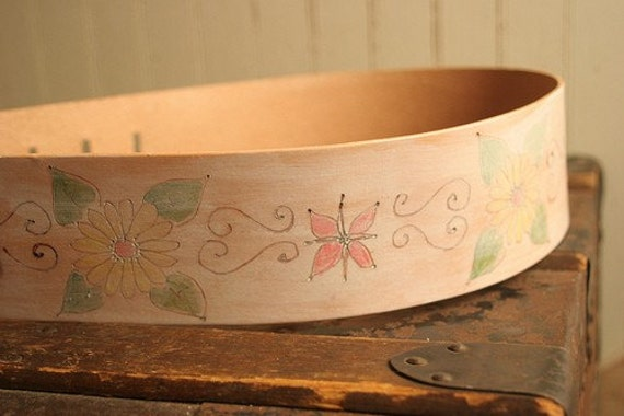 Leather Guitar Strap - White, pink, green, yellow - Pasha pattern with flowers