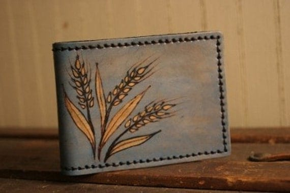Leather Bifold Wallet - Blue and gold - Wild Wheat Pattern