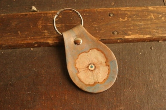 Leather Keychain - Antique brown, silver, white, blue - Poppy Garden pattern with flower