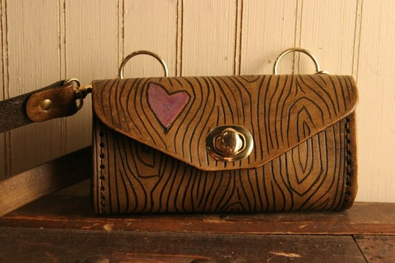 Nice Mini Purse - Leather in Purple and Antique Brown - Wood Grain and Heart