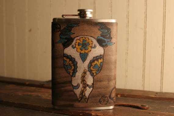 8oz Flask - Leather in Antique black, turquoise, yellow - Faux Nellie Pattern with Skull