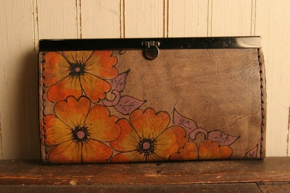 Belle Clutch Wallet - Leather in Orange, Yellow, Purple and Antique Black