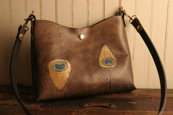 Leather Mini Tote - Antique Black, Gold, Turquoise, Sage - Jade pattern with peacock feather