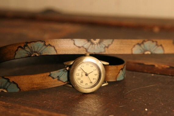 Leather Wrap Watch - Poppy Garden Pattern with Flowers - Turquoise and Antique Brown