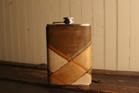 8oz Flask - Leather in Gold, White, Orange, Sage and Antique Brown - Clarke Pattern with Plaid
