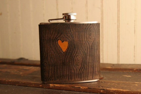Leather and Stainless Steel Flask - Orange and Antique Black  - Nice Pattern with Woodgrain and Heart
