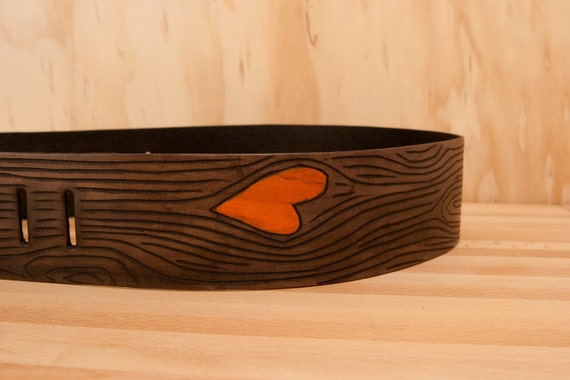 Nice Guitar Strap - Leather in Orange and Antique Black - Wood Grain and Heart