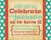 Birthday Party Invitation -- Big and Bright