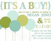 Baby Boy Shower invitation -- Bold Balloons