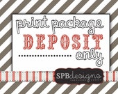Print Package Deposit --- 5x7 flat cards and envelopes -- to be purchased along with one of my designs