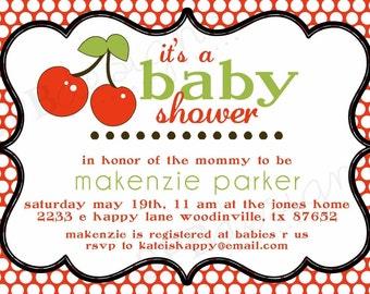 Cherry Baby Shower Invitation -- Cherry on Top