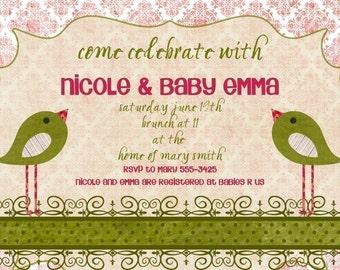 Birds Baby Shower Invitation -- Two Birds
