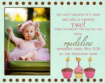 Cupcake Birthday Party Invitation -- Cutest Cupcake