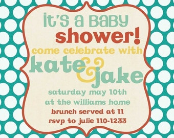 Baby Shower Invitation -- Bright Dots
