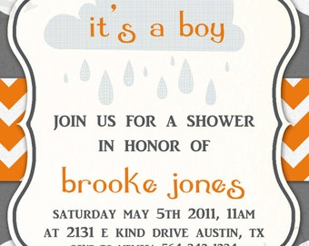 Baby Shower Invitation -- Rainy Showers BOY