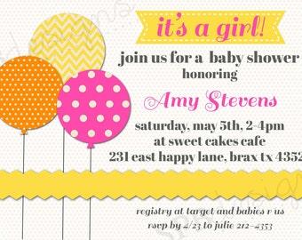 Baby Shower Invitation -- Bright Balloons