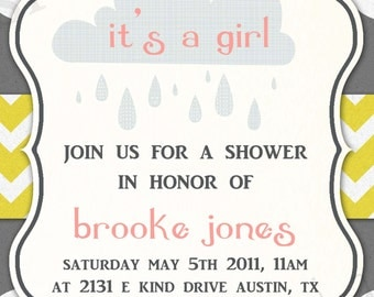 Baby Shower Invitation -- Rainy Showers GIRL