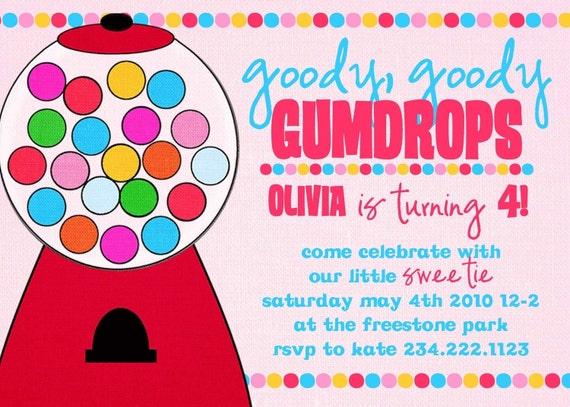 Birthday Party Invitation -- Goody Goody Gumdrops