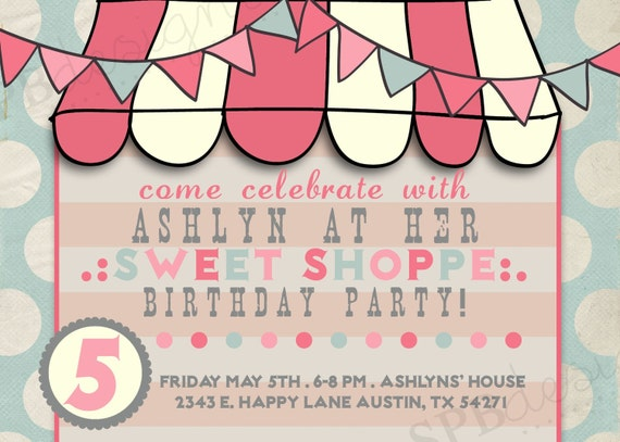 Birthday Party Invitation -- Sweet Shoppe