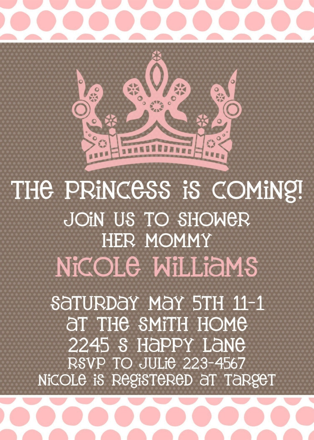 baby girl shower invitation princess is coming