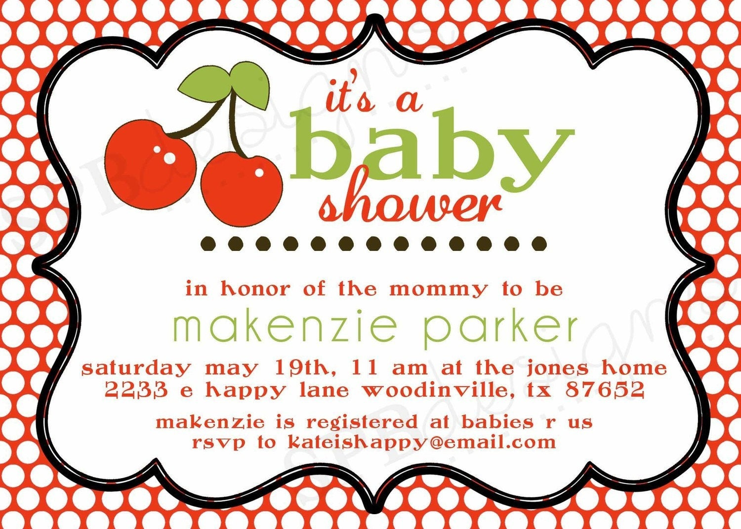 Baby Gift Registry Wording : Cherry baby shower invitation on top