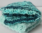 Hand Knit  TWO cloth set.  Shades of Aqua and Blue