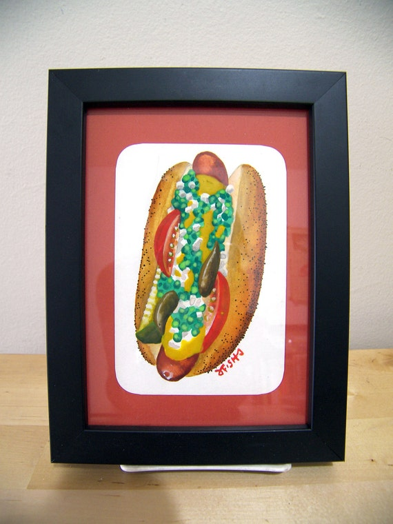 Chicago Dog watercolor painting