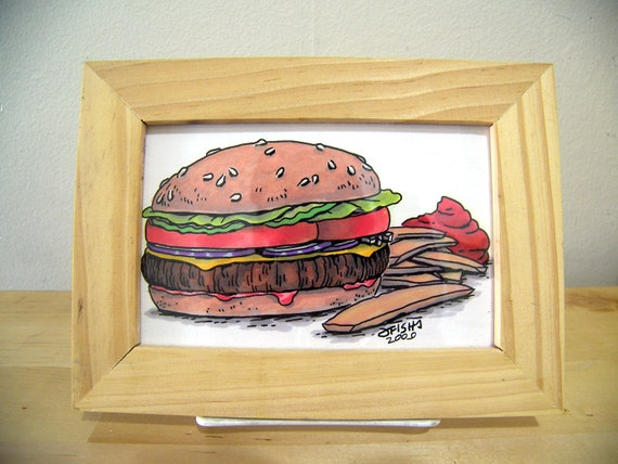 Cheeseburger and Fries illustration