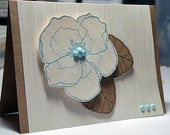 woodgrain texture kraft paper greeting card with flower ALL OCCASION
