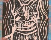 King Cat Black - Lino Print Altered
