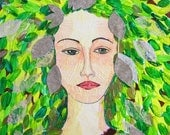 Green Woman - Original Collage/Painting
