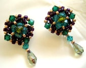 FREE SHIPPING - emerald and plum  studs earrings