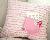 Tooth pillow, Girl tooth fairy pillow, Shabby chic Pink chenille with pink and aqua flower pocket toothfairy pillow for girls