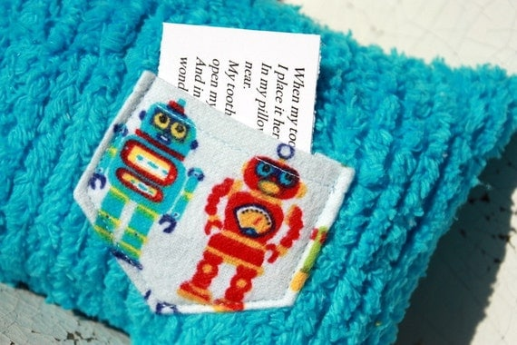 Boy tooth fairy pillow, Tooth pillow for boys...Robot pocket on teal chenille tooth fairy pillow for toddler boys